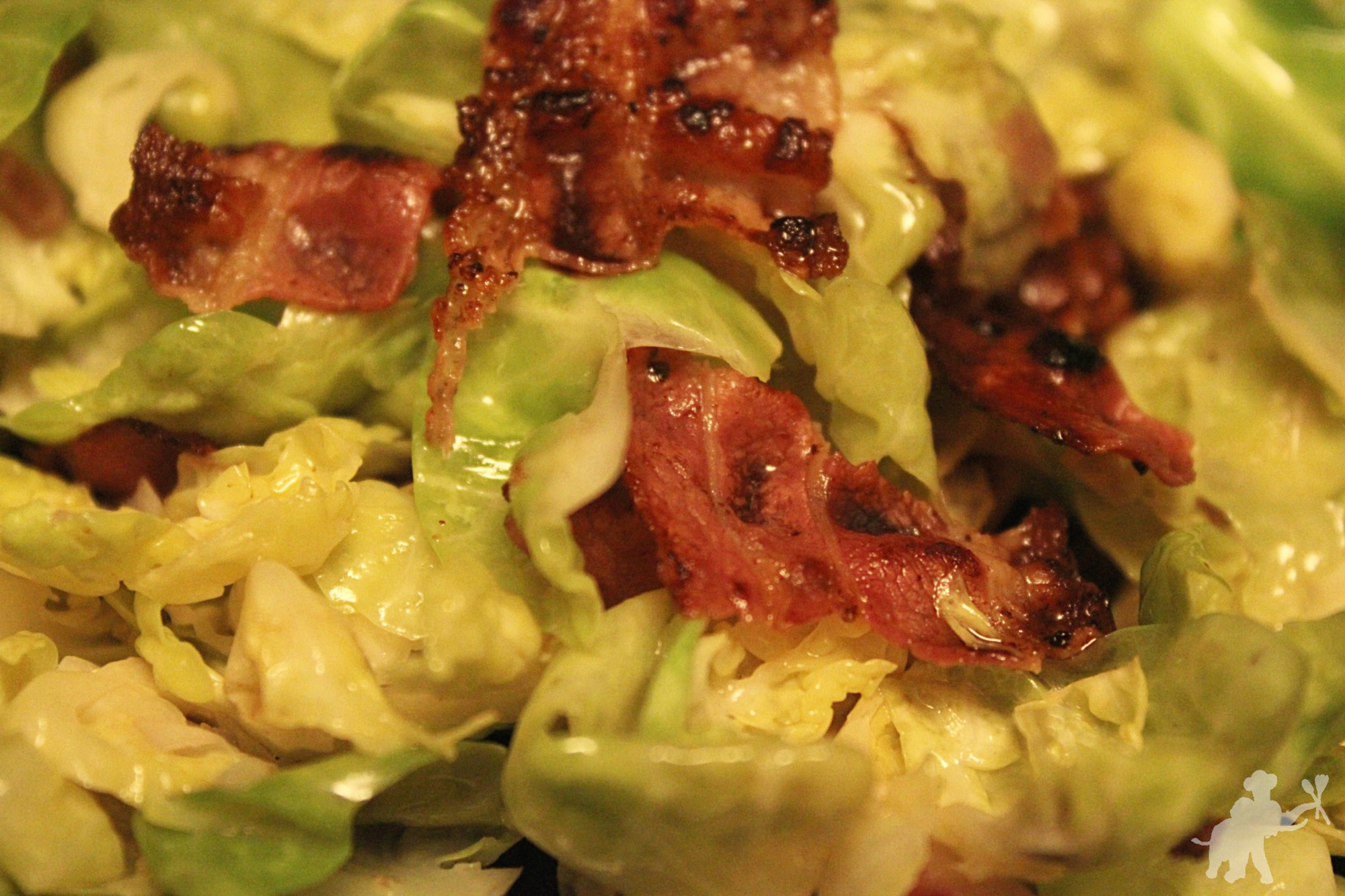 Brussels sprouts leaves with bacon